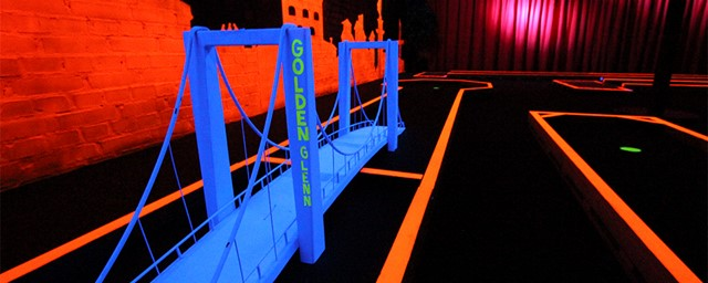 Mini Golf bridge obstacle painted in blacklight