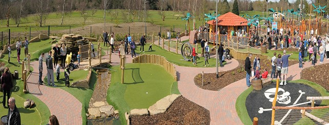 Overview of the Adventure Golf at Hoebridge Golf Centre